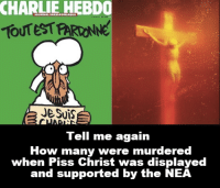 How dare we draw Muhammad, you shouldn't insult another religion!: CHARLIE HEBDO  TOUTESTARONNE  JESuis  Tell me again  How many were murdered  when Piss Christ was displayed  and supported by the NEA How dare we draw Muhammad, you shouldn't insult another religion!