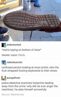 """Confused, Crime, and Fucking: drdemented  *starts typing on bottom of shoe*  Hacker voice  I'm in.  nebulousnoiz  confused person looking at snow prints: who the  fcuk strapped fucking keyboards to their shoes  aurayafrost  police detective examines footprints leading  away from the crime """"why did we ever anger the  machines, he asks himself sorrowfully  Source: fakehermes #TheWorstOfTumblr"""