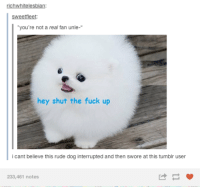"tumblr fuck: richwhitelesbian:  Sweetfleet:  ""you're not a real fan unle-  hey shut the fuck up  cant believe this rude dog interrupted and then swore at this tumblr user  233,461 notes"