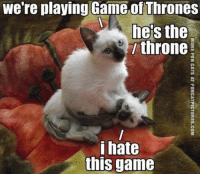 Game of Thrones, Grumpy Cat, and Game: we're playing Game of Thrones  he the  l throne  i hate  this game