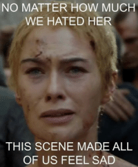 NO MATTER HOW MUCH  WE HATED HER  THIS SCENE MADE ALL  OF US FEEL SAD Game of Thrones Memes Credit: Saim Munaf Polani