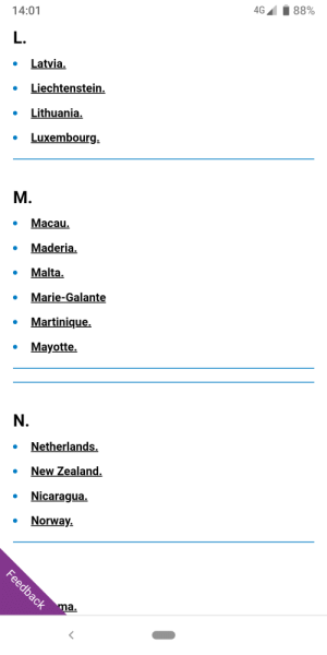Alphabet, Netherlands, and New Zealand: 88%  4G  14:01  L.  Latvia.  Liechtenstein.  Lithuania.  Luxembourg  М.  Масau,  Maderia.  Malta.  Marie-Galante  Martinique  Mayotte  N.  Netherlands.  New Zealand  Nicaragua  Norway.  Feedback  ma. Three roaming page has put a line for the missing O, LMON is the new alphabet. It's the same at every missing letter