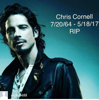 88  Chris Cornell  7/20/64 5/18/17  RIP It's always sad when one of your favorite music artist passes away, Chris Cornell was one of my favorites. I loved Soundgarden and audioslave, the world lost a great one.