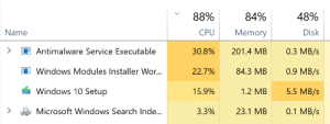 Microsoft, Windows, and Search: 88%  CPU  30.8%  22.7%  15.9%  3.3%  84%  Memory  201.4 MB  84.3 MB  1.2 MB  23.1 MB  48%  Disk  0.3 MB/s  0.9 MB/s  5.5 MB/s  0.1MB/s  Name  Antimalware Service Executable  Windows Modules Installer Wor...  Windows 10 Setup  Microsoft Windows Search Ind.e... The Four Horsemen of the Apocalypse