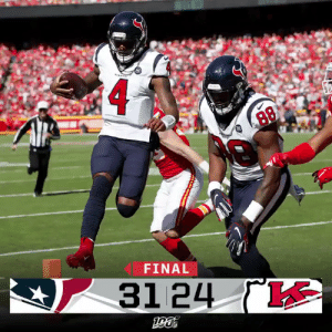 FINAL: @deshaunwatson and the @HoustonTexans take down the Chiefs! #HOUvsKC #WeAreTexans https://t.co/skglzc1OhW: 88  FINAL  31 24 ( FINAL: @deshaunwatson and the @HoustonTexans take down the Chiefs! #HOUvsKC #WeAreTexans https://t.co/skglzc1OhW