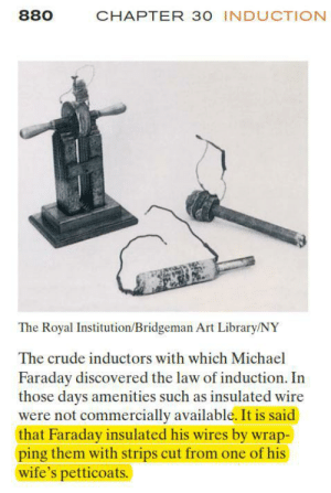 Library, Michael, and Art: 880  CHAPTER 30 INDUCTION  The Royal Institution/Bridgeman Art Library/NY  The crude inductors with which Michael  Faraday discovered the law of induction. In  those days amenities such as insulated wire  were not commercially available. It is said  that Faraday insulated his wires by wrap-  ping them with strips cut from one of his  wife's petticoats. It would have cost them $0.00 to not say that
