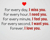 love you: For every day, I miss you.  For every hour, l need you.  For every minute, l feel you.  For every second, I want you.  Forever, I love you.