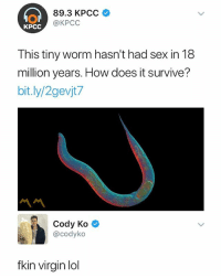 Lmao, Lol, and Sex: 89.3 KPCC  KPCC  c @KPCC  This tiny worm hasn't had sex in 18  million years. How does it survive?  bit.ly/2gevjt7  Cody Ko  @codyko  fkin virgin lol fkin loser lmao