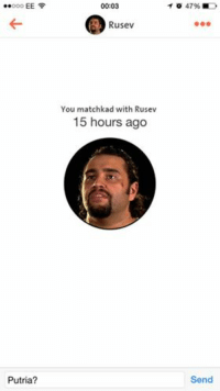 Wrestling, World Wrestling Entertainment, and Idea: EE  Putria?  00:03  Rusev  You matchkad with Rusev  15 hours ago  o 47% MD  Send Thanks to Joe Wilson for the idea