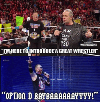 """Straight from the mouth of Bret Hart: CAMF  88  YSO  UST  WRESTINGMEMES  """"I'M,HERETTO INTRODUCEAGREAT WRESTLER""""  RAW  """"OPTIon D BAYBAAAAAAYYYY!"""" Straight from the mouth of Bret Hart"""