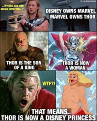 like Star Wars Memes: IGIBLERD VISION  ...WHERE ARE YOU  GOING WITH THIS.  DISNEY OWNS MARVEL  MARVEL OWNS THOR  THOR IS THE SON  THOR IS NOW  OF A KING  A WOMAN  WTF?!  THAT MEANS..  THOR IS NOW A DISNEY PRINCESS like Star Wars Memes