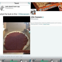 Little Caesars a savage 😂😂😂: Tweet  jade struck team cap  Jade Struck  what the fuck is this  @littlecaesars  Little Caesars  little caesars  ou are blocked from following oittlecaesars and viewing  littlecaesars's Tweets. Learn more  Reply to jade struck team cap  A 5,386  5.386 Little Caesars a savage 😂😂😂