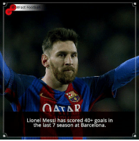 Memes, 🤖, and Footbal: 8Fact Footbal  a AT AR  Lionel Messi has scored 40+ goals in  the last 7 season at Barcelona. Did you know that? Follow @football_tab for the best football jokes 👥⚽️