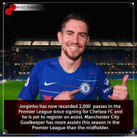 That's some stat 😳 Is he overrated or is the best yet to come? 🤔👀🤷🏾‍♂️ • • england premierleague arsenal chelsea chelseafc football italy manchestercity manchesterunited italy kante: 8Fact Football  AMA  Jorginho has now recorded 2,000 passes in the  Premier League since signing for Chelsea FC and  he is yet to register an assist. Manchester City  Goalkeeper has more assists this season in the  Premier League than the midfielder. That's some stat 😳 Is he overrated or is the best yet to come? 🤔👀🤷🏾‍♂️ • • england premierleague arsenal chelsea chelseafc football italy manchestercity manchesterunited italy kante
