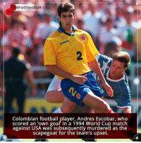 Did you know that?: 8Fact Football  Colombian football player, Andres Escobar, who  scored an 'own goal in a 1994 World Cup match  against USA was subsequently murdered as the  scapegoat for the team's upset. Did you know that?