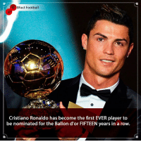 Cristiano Ronaldo, Football, and Memes: 8Fact Football  Cristiano Ronaldo has become the first EVER player to  be nominated for the Ballon d'or FIFTEEN years in a row. At the top for 15 years 🙌⚽️ Does he deserve to win it again this year 🤔😱🏆 • • athleticomadrid elclassico madrid juventus spain italy ballondor messi cristianoronaldo manchesterunited manchester mosalah