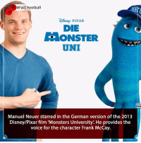 A Man of many talents 🙌⚽️🏆 Is he still the best Goalkeeper in the world ? 👀🤔🤷🏾‍♂️ • • germany disney disneyland monsters monstersuniversity film movies germany bayernmunich football england premierleague portugal worldcup worldcup2018: 8Fact Football  DIsNE PIXAR  DIE  ONSTER  UNI  Manuel Neuer starred in the German version of the 2013  Disney/Pixar film 'Monsters University'. He provides the  voice for the character Frank McCay. A Man of many talents 🙌⚽️🏆 Is he still the best Goalkeeper in the world ? 👀🤔🤷🏾‍♂️ • • germany disney disneyland monsters monstersuniversity film movies germany bayernmunich football england premierleague portugal worldcup worldcup2018