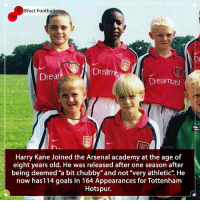 "Arsenal, Football, and Goals: 8Fact Football  Drea  Drea  Dreamast  Harry Kane Joined the Arsenal academy at the age of  eight years old. He was released after one season after  being deemed ""a bit chubby"" and not""very athletic"". He  now has114 goals in 164 Appearances for Tottenham  Hotspur. Is he better than Lacazette x Aubameyang? Do Arsenal need him ? What colour is London 🔴⚪️🤔🤷🏾‍♂️⚽️👀 • • greatbritain leicester arsenal tottenham london football premierleague realmadrid academy mistakes"