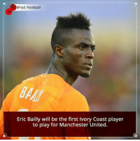 Football, Memes, and Manchester United: 8Fact Football  Eric Bailly will be the first Ivory Coast player  to play for Manchester United. Did you know that?
