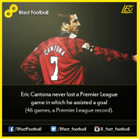 Did you know that...  Join our backup page 8Football: 8fact Football  Eric Cantona never lost a Premier League  game in which he assisted a goal  (46 games, a Premier League record)  OO  8fact football 8 fact football Did you know that...  Join our backup page 8Football