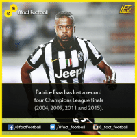 Memes, Champions League, and 🤖: 8fact Football  Jeep  Patrice Evra has lost a record  four Champions League finals  (2004, 2009, 2011 and 2015).  8factFootball  8fact football 8 fact football Did you know that...  Join our backup page 8Football