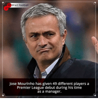 Memes, Premier League, and Jokes: 8Fact Football  Jose Mourinho has given 49 different players a  Premier League debut during his time  as a manager. Did you know that? Follow @football_tab for the best football jokes 👥⚽️