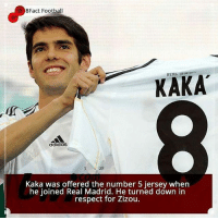 Did you know this about Kaka... 👌🏻⚽: 8Fact Football  KAKA  adidas  Kaka was offered the number 5 jersey when  he joined Real Madrid. He turned down in  respect for Zizou. Did you know this about Kaka... 👌🏻⚽