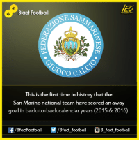 Back to Back, Facts, and Goals: 8fact Football  NE S  LIBERTAS  OCO CA  This is the first time in history that the  San Marino national team have scored an away  goal in back-to-back calendar years (2015 & 2016).  8factFootball  8fact football  8 fact football Did you know that...  Join our backup page 8Football