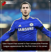 Did you know that? Follow @football_tab for the best football jokes 👥⚽️: 8Fact Football  SAMSUNG  Eden Hazard has scored in four consecutive Premier  League appearances for the first time in his career. Did you know that? Follow @football_tab for the best football jokes 👥⚽️