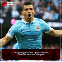 Memes, 🤖, and Sergio Aguero: 8Fact Football  Sergio Aguero has never been on  the PFA Team of the year. Did you know that? Follow @football_tab for the best football jokes 👥⚽️