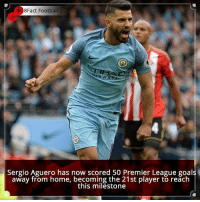 Memes, 🤖, and Player: 8Fact Football  Sergio Aguero has now scored 50 Premier League goal  away from home, becoming the 21st player to reach  this milestone Did you know that?