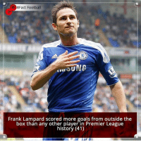 Did you know that? Follow @football_tab for the best football jokes 👥⚽️: 8Fact Football  SUNG  Frank Lampard scored more goals from outside the  box than any other player in Premier League  history (41) Did you know that? Follow @football_tab for the best football jokes 👥⚽️