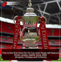 Did you know that? Follow @football_tab for the best football jokes 👥⚽️: 8Fact Football  This is the first time the FA Cup semi-finals will feature  three London teams since 2002  (Arsenal, Chelsea and Fulham). Did you know that? Follow @football_tab for the best football jokes 👥⚽️