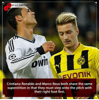What are your football superstitions 👀🤔🤨⚽️ • • england manchester spain roma premierleague football dortmund germany cristianoronaldo portugal superstition realmadrid juventus munich worldcup world: 8Fact Football  Vi  09  AEVOnIK  Cristiano Ronaldo and Marco Reus both share the same  superstition in that they must step onto the pitch with  their right foot first. What are your football superstitions 👀🤔🤨⚽️ • • england manchester spain roma premierleague football dortmund germany cristianoronaldo portugal superstition realmadrid juventus munich worldcup world
