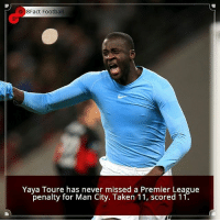 Did you know that? Follow @football_tab for the best football jokes 👥⚽️: 8Fact Football  Yaya Toure has never missed a Premier League  penalty for Man City. Taken 11, scored 11. Did you know that? Follow @football_tab for the best football jokes 👥⚽️