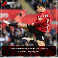 Did you know that? Follow @football_tab for the best football jokes 👥⚽️: 8Fact Football  Zlatan Ibrahimovic scored the 25,000th  Premier League goal Did you know that? Follow @football_tab for the best football jokes 👥⚽️