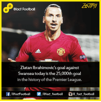 Just Zlatan things...  8fact Football: 8fact Football  Zlatan Ibrahimovic's goal against  Swansea today is the 25,000th goal  in the history of the Premier League.  OO  8fact football 8 fact football Just Zlatan things...  8fact Football