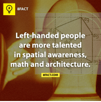 That's why I suck at maths! (via 8fact): 8FACT  Left-handed people  are more talented  in spatial awareness,  math and architecture.  FACT COM That's why I suck at maths! (via 8fact)