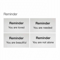 Reminder  Reminder  Reminder  You are loved  You are needed  Reminder  Reminder  You are beautiful  You are not alone thanks