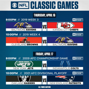 8pm ET: Lamar Jackson takes on Patrick Mahomes. Week 3 (2019) 🔥 10pm ET: AFC Rivals clash in Week 4 (2019). @Browns vs. @Ravens. 🔥  A weekend full of NFL classics starts TONIGHT on @CBSSportsNet! https://t.co/mH03eLRh51: 8pm ET: Lamar Jackson takes on Patrick Mahomes. Week 3 (2019) 🔥 10pm ET: AFC Rivals clash in Week 4 (2019). @Browns vs. @Ravens. 🔥  A weekend full of NFL classics starts TONIGHT on @CBSSportsNet! https://t.co/mH03eLRh51