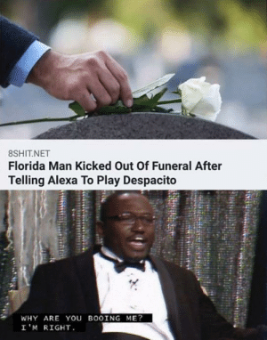 A Man of Culture: 8SHIT.NET  Florida Man Kicked Out Of Funeral After  Telling Alexa To Play Despacito  WHY ARE You BOOING ME?  I'M RIGHT A Man of Culture