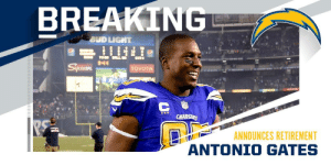 8x Pro Bowl TE and Chargers legend Antonio Gates announces retirement. https://t.co/eVVds5Vt13: 8x Pro Bowl TE and Chargers legend Antonio Gates announces retirement. https://t.co/eVVds5Vt13