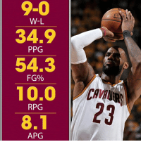 """Dating back to Game 5 of last year's Finals, """"Playoff LeBron"""" has been unreal.: 9-0  W-L  34.9  PPG  54.3  FG%  10.0  RPG  8.1  APG Dating back to Game 5 of last year's Finals, """"Playoff LeBron"""" has been unreal."""