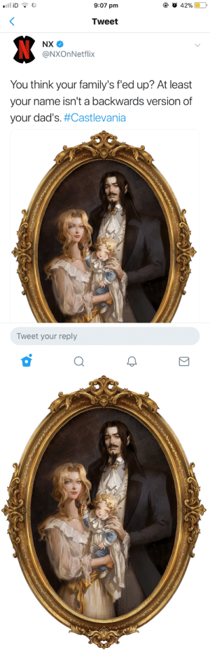 """God, Oh My God, and Tumblr: 9:07 pm  Tweet  @NXOnNetflix  You think your family's fed up? At least  your name isn't a backwards version of  your dad's#Castlevania  Tweet your reply forthegothicheroine:  trantoul: OH MY GOD IM GONNA CRY """"Alucard"""" being an egocentric name Dracula gave his son to honor himself makes way more sense than any other story with the Alucard pseudonym."""