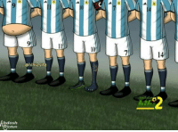 Soccer, Argentina, and Guess: 9  10  14  hihi2site  bdosh  aricature Argentina. Guess who.