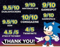 With a 90 Metascore on Nintendo Switch, Sonic Mania Plus is now the highest-rated Sonic game in 25 years.  Thank you for being there with us, every step of the way.: 9/10 9MO  NINTENDOLIFE GAMESPOT  DUALSHOCKERS  95/10 cGMAGAZINE CAMESPACE  TWINFINITE  ATTACK OF THE FANBOY  THANK YOU! With a 90 Metascore on Nintendo Switch, Sonic Mania Plus is now the highest-rated Sonic game in 25 years.  Thank you for being there with us, every step of the way.