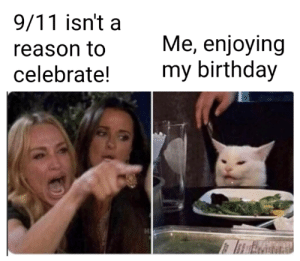 9/11, Birthday, and Memes: 9/11 isn't a  Me, enjoying  my birthday  reason to  celebrate! Happy birthday…. To me via /r/memes https://ift.tt/2ZMQ83G