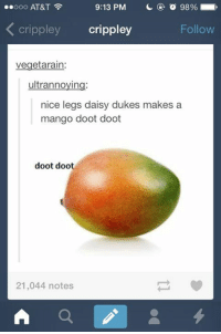 nice legs daisy dukes: 9:13 PM  o 98%  ooooo AT&T  Cri  crippley  Follow  vegetarain:  ultrannoying:  nice legs daisy dukes makes a  mango doot doot  doot doot  21,044 notes  A 4