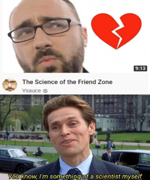 Reddit, Science, and Friend: 9:13  The Science of the Friend Zone  Vsauce  You know, I'm something of a scientist myself I'm an expert of the subject actually