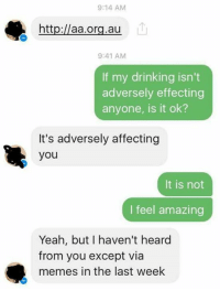 Dank, Affect, and 🤖: 9:14 AM  aa.org.au  9:41 AM  If my drinking isn't  adversely effecting  anyone, is it ok?  It's adversely affecting  you  It is not  I feel amazing  Yeah, but I haven't heard  from you except via  memes in the last week